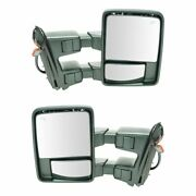 Tow Mirror Power Folding Telescoping Heated Smoked Signal Chrome Pair For Ford