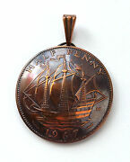 Uk Sailing Ship Half Penny Bronze Coin Pendant Vintage Jewelry Necklace England
