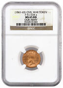 1861-1865 F-51/334 A Civil War Token - Our Army Ngc Ms65 Rd