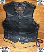 Black Leather Vest With Buffalo Nickel Snaps For Harley Rider Motorcycle Rider