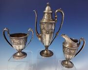 Pompeian By Whiting Sterling Silver Demitasse Tea Set 3pc W/applied Decor 1048