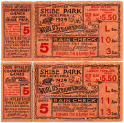 Rare Pair Of 1929 World Series Tickets Game 5, Shibe Park. Close Out Game.