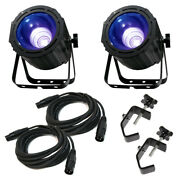American Dj 2 Uv Cob Cannon Ultraviolet Wash Package W/ Truss Clamps And Cables