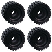 4 Pack 3 Wide X 4-3/8 Od Boat Trailer Black Rubber Ribbed Wobble Rollers