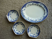 Oval Platterand 3 Small Bowls/ George Jones And Sons/ Blue And White/ Circa 1891/