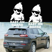 2pcs Cool Baby On Board Decal Stickers Cute Funny Decoration Decor Vinyl Film