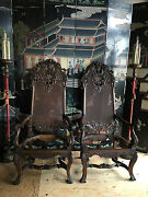 Large Antique Carved Walnut Arm Chairs Pair