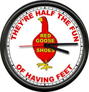 Red Goose Shoes Salesman Store Dealer Sign Wall Clock