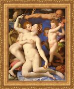 Agnolo Bronzino An Allegory With Venus And Cupid Framed Canvas 27x33 V13-02