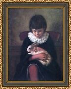 Eastman Johnson Child Playing With Rabbit Framed Canvas Print 27x34 V13-17