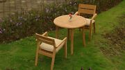"""Celo 3-pc Outdoor Teak Dining Patio Set 36"""" Round Table, 2 Stacking Arm Chairs"""