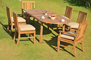 Osbo 7-pc Outdoor Teak Dining 94 Oval Extension Table 6 Arm/armless Chairs