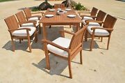 Napa 9-pc Outdoor Teak Dining 94 Rectangle Extn Table, 8 Stacking Arm Chairs