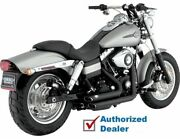 Black Vance And Hines Shortshots Short Shots Staggered Exhaust Pipes Harley Dyna