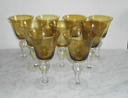9 Antique Grape Etched Amber And Clear Tall Water Stem Glasses- Unknown Maker