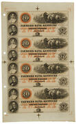 Farmers Bank Of Kentucky 1800's - 20 Note Uncut Sheet Of 4 Notes