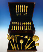 Repousse By Kirk Sterling Silver Flatware Set For 6 Service 32 Pieces Vermeil