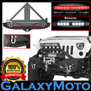 Front+rear Bumper+tire Carrier+dual Led Tail Light For 07-18 Jeep Jk Wrangler