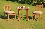 """Osboure 3-pc Outdoor Teak Dining Patio Set 36"""" Round Table, 2 Armless Chairs"""