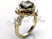 Yellow Gold Unique Forever One Moissanite Flower Engagement Ring Ermz-1032-2