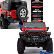 Front+rear Bumper+3rd Led Light+winch Plate+2 Hitch For 07-18 Jeep Jk Wrangler