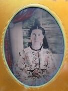 Antique American Beauty Pocket Watch Gold Earrings Tintype Photo Museum Quality