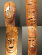 Antique American Folk Art Cane 1881 Springfield Il Oh 10 Faces Cat Dog Carvings