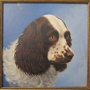 Antique American Winsor And Newton Oil On Board Cocker Spaniel Dog Fine Painting