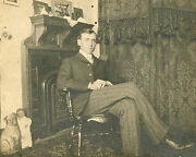 Antique Vintage Vernacular Photography Photo Pug Dog Doll Cool Dude Victorian