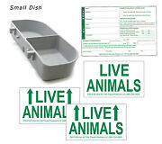 Standard Airline Kennel Travel Kit - Small Food Water Tray - Live Animal Labels