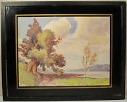 Antique American Impressionist Watercolor Hudson Valley Style Fine Painting