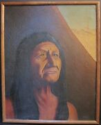 Antique Indian Chief Two Moons Cheyenne Battled Gen Custer American Oil Painting