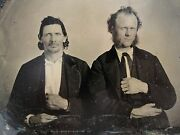 Antique American Gamblers Father Son White Heart Pinky Ring Large Tintype Photo