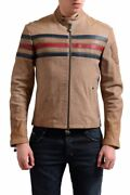 Gianfranco Ferre Menand039s 100 Leather Brown Full Zip Jacket Size 2xs Xs S L 2xl