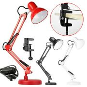 Metal Desk Lamp Adjustable Swing Arm With Interchangeable Base And Clamp