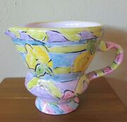 "HANDMADE Studio Art Pottery footed pitcher hand-painted floral 4.25"" x 4.5"""