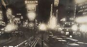 Antique1923 Times Square Neon Signs Coca Cola Macy's Loews Fisk Tires Ny Photo