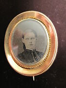 Antique Victorian American Beauty Lovers Brooch Gold Tone Double Tintypes Photo