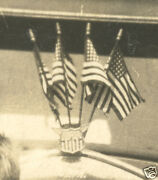 Antique Classic Car Hood Ornament American Flags Lollipop Kids Ford Old Photo