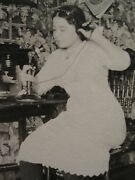 Vintage Antique Candlestick Phone Young Girl Inkwell Desk Magazine Old Photo