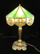 Beautiful Bronze Table Lamp With Stained And Slag Glass Shade - Circa 1900
