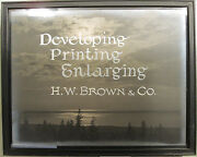 Antique Turn 19th Century Photographer's Advertising Sign Display H.w Brown Wi