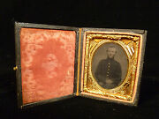 Rare Civil War Teenage Soldier Tintype - Case W/ Flags Drum And Cannon - 1862