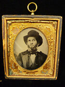 Rare Civil War Tintype In Gilt Copper Frame W/ Flags Shields And Cannons C. 1863