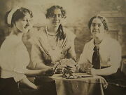 Antique Three Of A Kind Full House Poker Girls Beauties Old Warsaw Il Rppc Photo