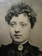 Antique Neck Ivory American Or Chinese Brooch Jewelry Beauty Old Tintype Photo