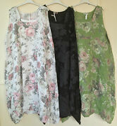 New Plus Size Lagenlook Quirky Balloon Shaped Floral Long Linen Dress Xxl 52