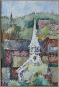 Vintage American Troxel Chicago Modernist Modernism Painting City Architecture
