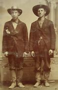 Antique American Cowboys Handsome Young Men Hats Boots Artistic Pair Rare Photo