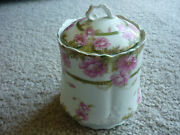 LIDDED BISCUIT JAR/ HAND PAINTED/JAEGER & CO/ GERMANY 1898-1906